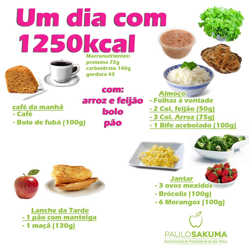 dieta com 1250 kcal