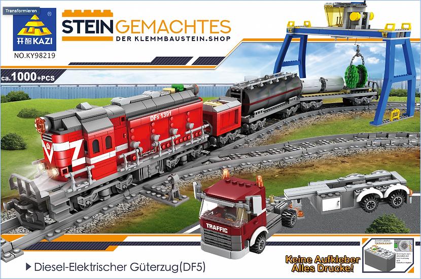 Kazi Ky98219 Roter Diesel Güterzug mit Schienenkreis ca.1000 Bausteine