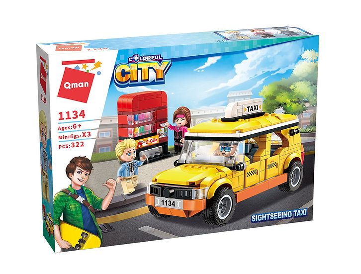 Qman 1134 Colorful City Sightseeing Taxi Bausteine 322