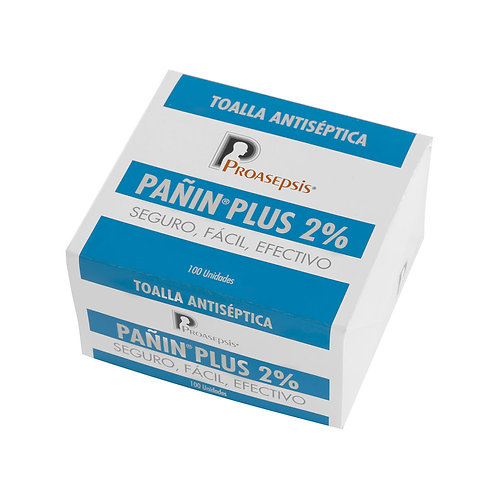Pañin® plus 2% toallitas impregnadas con gluconato de clorehixidina caja x 100
