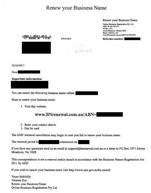 Scam warning - ASIC Business Name Renewal - LETTER