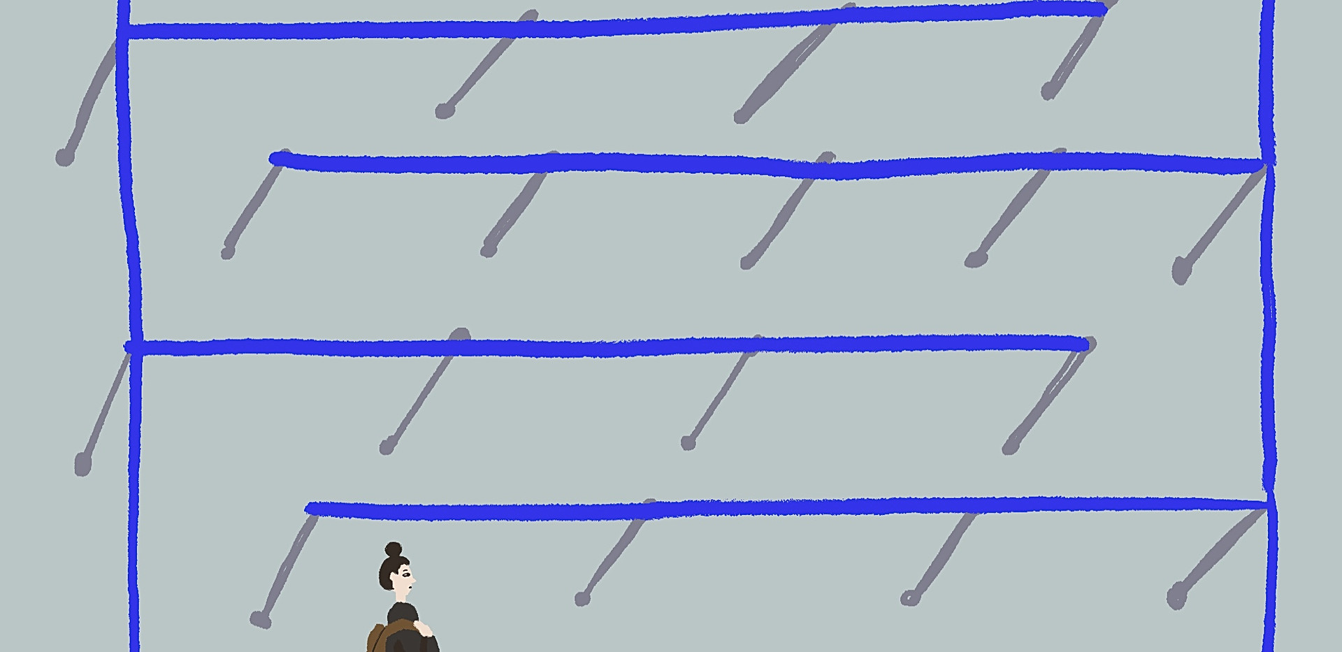 Awkward airport maze