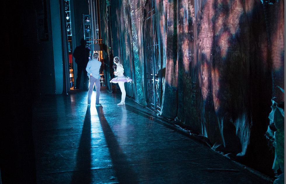 Dancers back stage at an Los Angeles Ballet performance