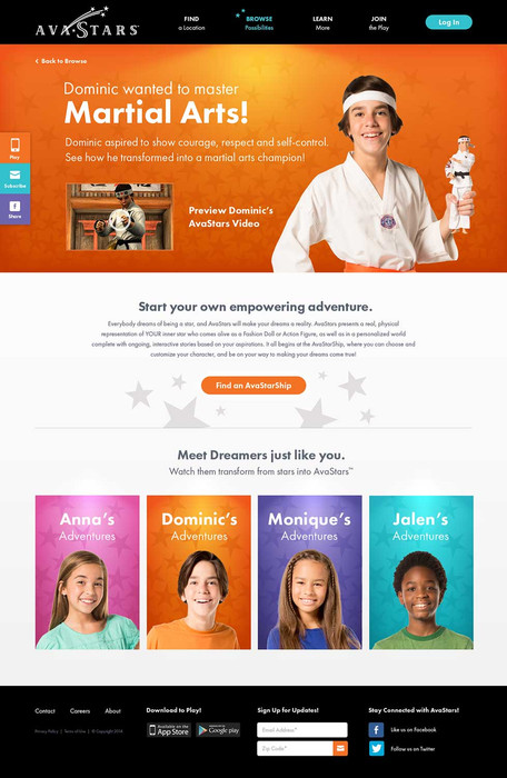 Avastars - Website Sub Page Design