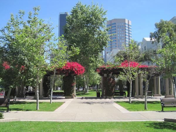The pergolas at Grand Hope Park