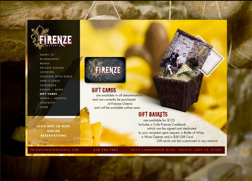 Firenze Osteria - Website Store Page