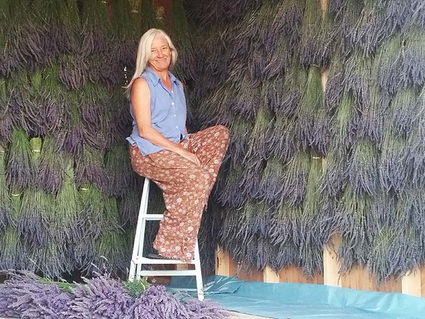 Lavender Lori on her Lavender Farm
