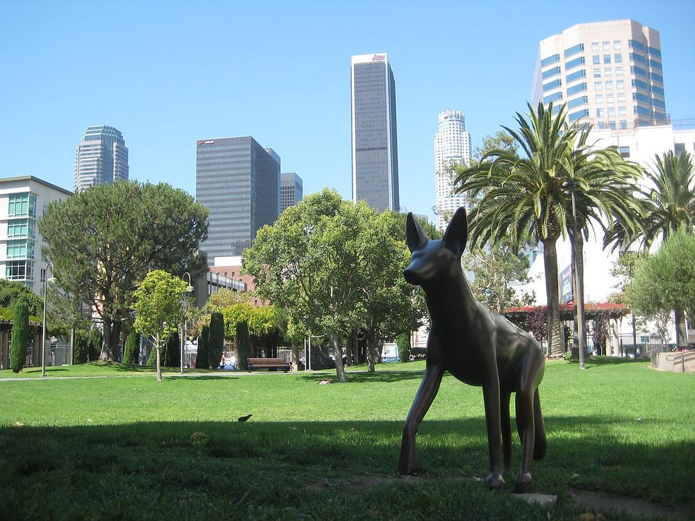 "Adrian Saxe's ""wildlife figures"" in Grand Hope Park"