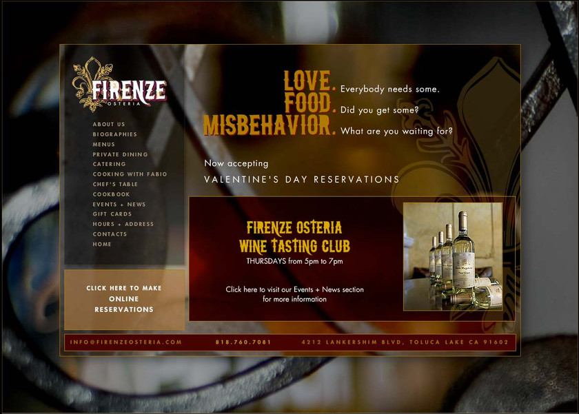 Firenze Osteria - Website Home Page