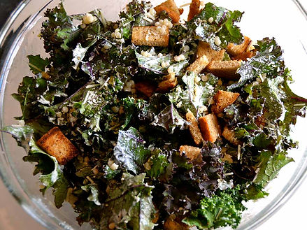 Kale Caesar with Rye Croutons and Farro