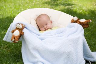 Sleeping baby with bear blankyclips