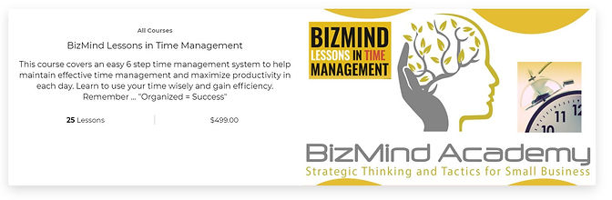 BizMind Time Mangement 2.0 Course landin