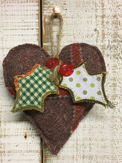 Christmas Holly & Heart Decoration