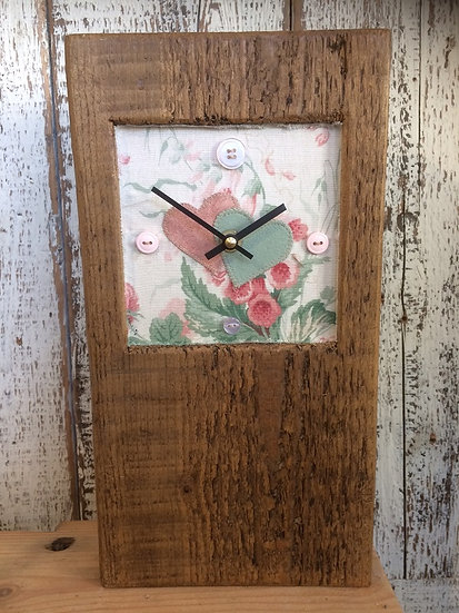 Baby Block Clock 2 Hearts - Floral