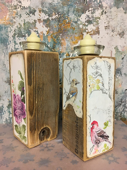 Pair of Decoupage Candle Holders