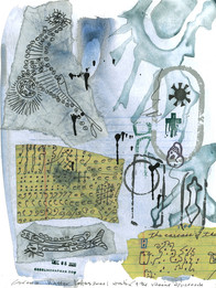 CORONA WINTERLETTERS 2021. Waiting4the Vaccine. 11 drawings, mail collaboration with Jeff Crouch. 9 x 12 in., 23 x 30 cm. Strathmore paper, watercolor, gouache, graphite, collage, ink, personal rubber stamps.    https://the-otolith.blogspot.com/2020/12/cecelia-chapman-jeff-crouch.html
