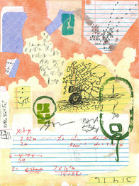 SUMMERMAIL2020. Mail correspondence with Jeff Crouch. Draws on current events and Jeff's serendipitous letters. 36 drawings. 9 x 12 in., 23 x 30 cm. Canson paper, watercolor, gouache, graphite, collage, ink, personal rubber stamps.  https://the-otolith.blogspot.com/2020/05/cecelia-chapman-jeff-crouch.html   and   https://www.utsanga.it/chapman-crouch-summermail-confidential/