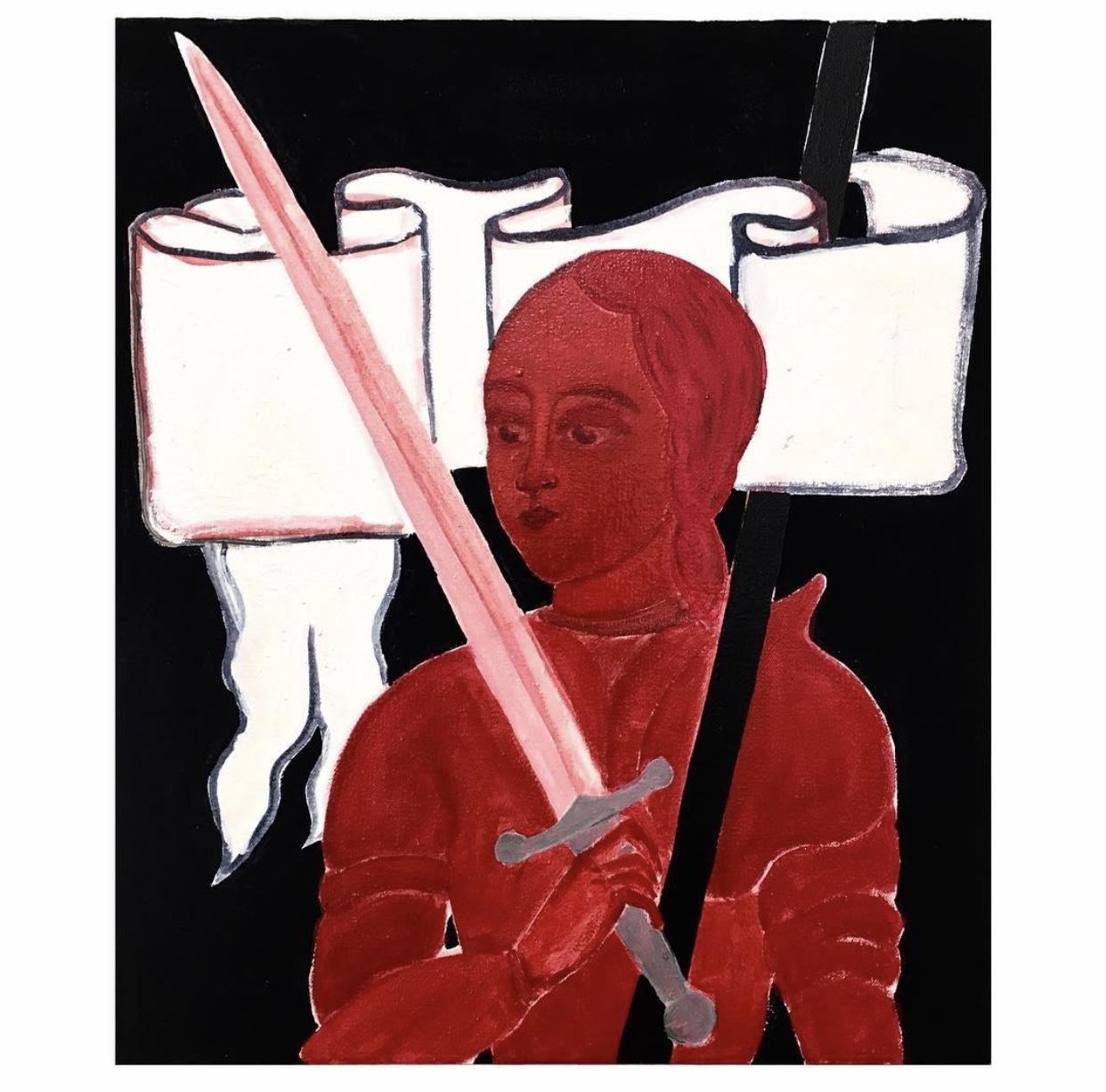 Leonie Silye - ['Jeanne d'arc', oil and acrylic gouache on canvas, 40x35cm, 2018]