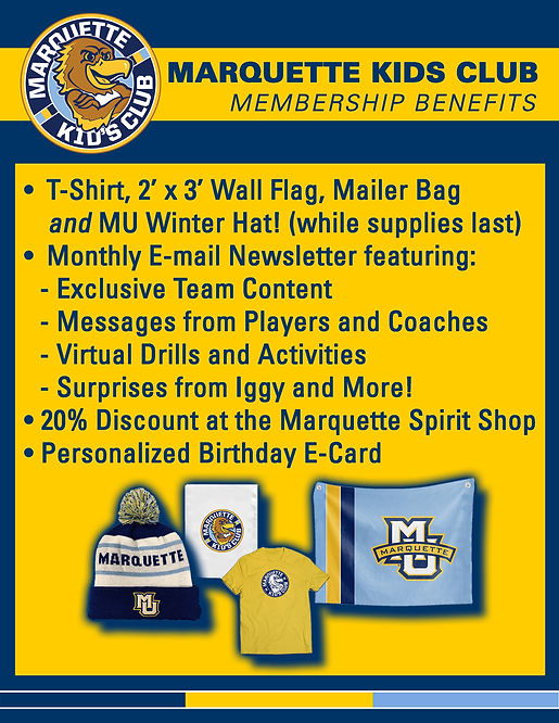 Marquette Kids Club Flyer 2020-21 with W
