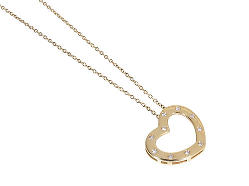 18ct Yellow Gold Diamond Heart Pendant & Chain