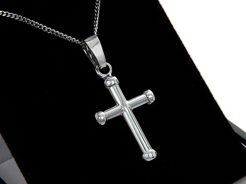 9ct White Gold Cross & Chain
