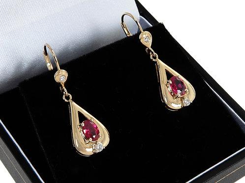 14ct Yellow Gold Ruby & Diamond Drop Earrings