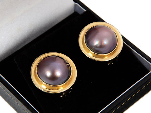 18ct Yellow Gold Tahitian Mabe Large Pearl Earrings