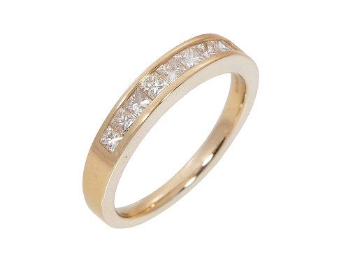 18ct Yellow Gold Princess Cut Diamond Half Eternity Ring 0.55ct
