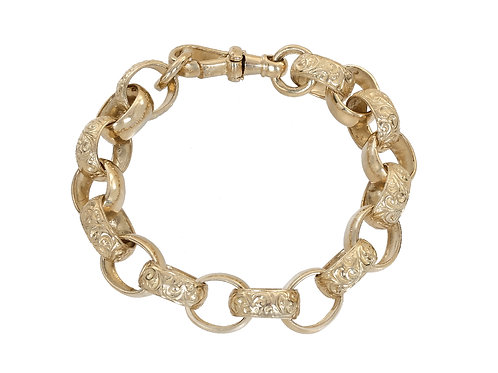 9ct Gold Plain and Patterned Oval Belcher Bracelet 33.5g