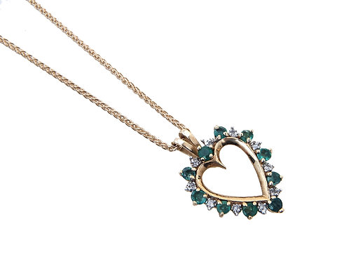9ct Yellow Gold Diamond & Emerald Heart Pendant & Chain