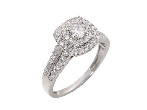 18ct White Gold Diamond Halo Engagement Ring 0.73ct