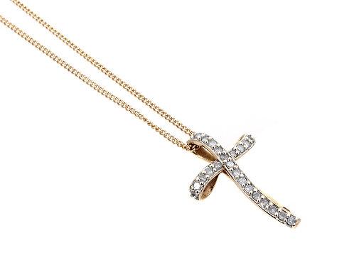 9ct Yellow Gold Diamond Cross 0.33ct