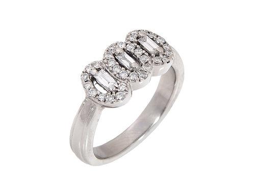 18ct White Gold Unusual Diamond Ring 0.50ct