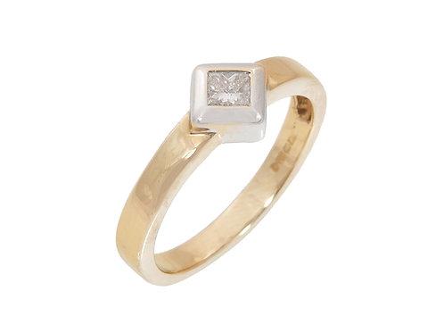 18ct Princess Cut  Diamond Solitaire Ring 0.20ct