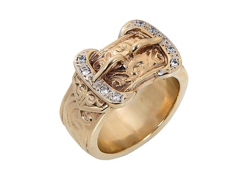 9ct Yellow Gold Large Mens Double Buckle Ring 47.7g