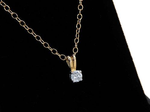 18ct Yellow Gold Diamond Solitaire Pendant & Chain 0.20ct