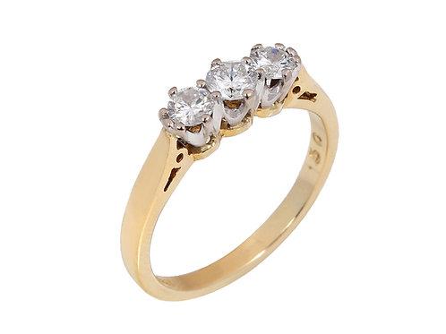 18ct Yellow Gold Diamond Trilogy Ring 0.50ct