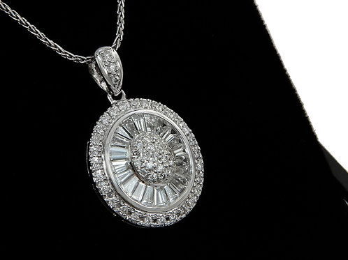 18ct White Gold Platinum & Diamond Pendant & chain 1.45ct