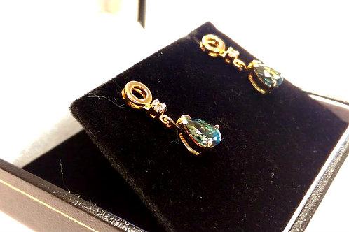 9ct Gold Diamond & Topaz Dropper Earrings