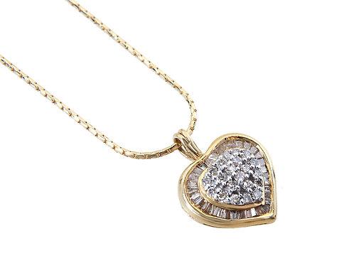 18ct Yellow Gold Diamond  Heart Pendant & Chain 0.75ct