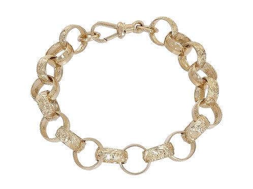 9ct Gold Plain and Patterned Belcher Bracelet 35.8g