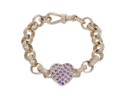 9ct Childrens CZ Heart Plain & Patterned Belcher Bracelet 15.6g