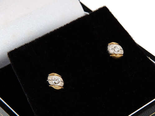 18ct White & Yellow Gold Solitaire Earrings 0.20ct