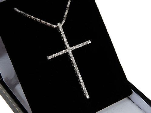 18ct White Gold Diamond Cross & Chain 0.33ct