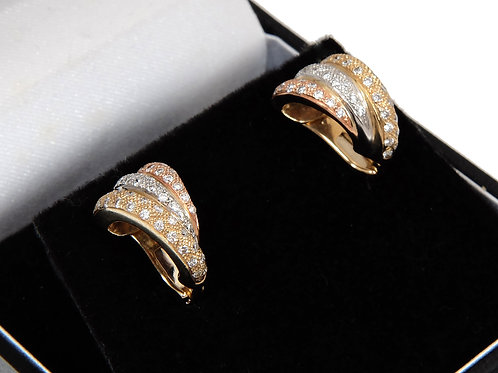 14ct Yellow White & Rose Gold Diamond Earrings