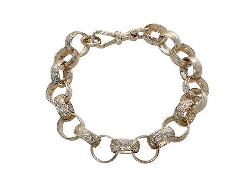 9ct Yellow Gold Plain & Patterned Belcher Bracelet 36.1g