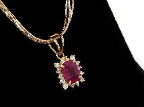 18ct Yellow Gold Ruby & Diamond Pendant & Chain 1.28ct