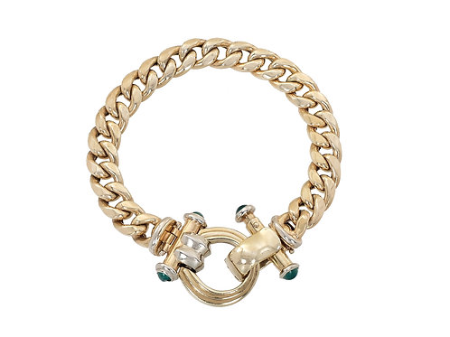9ct Yellow and White Gold Curb Bracelet 25.3g