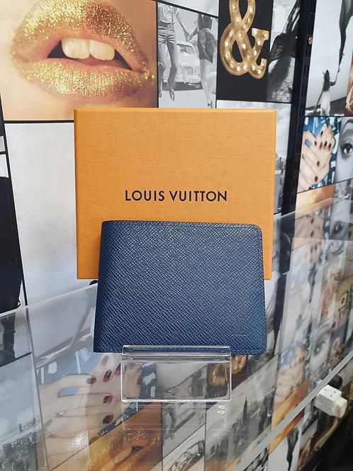 Louis Vuitton Slender Taiga Men's Wallet in Ocean Blue with Box & Receipt