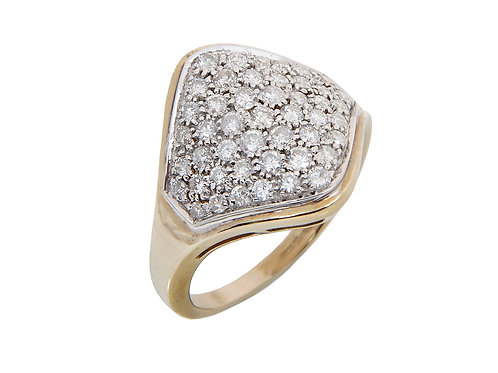 9ct Yellow Gold Large Diamond cluster Ring 1.00ct